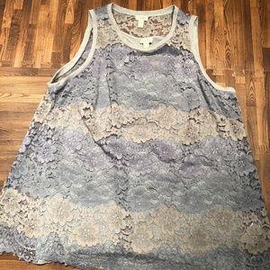 Lori Goldstein Floral Lace Tank Top Twinset 20W